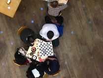 Chess players in cafe. Cafe chess, mall in Kiev, Ukraine stock image