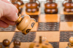 Chess play with focus to white chess pawn in front Royalty Free Stock Photo