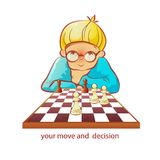 Chess-player. Boy cartoon vector illustration Royalty Free Stock Image