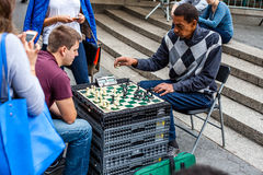 Chess player at Union Square in New York. City Royalty Free Stock Images