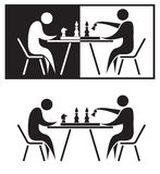 Chess players. Black and white illustration Royalty Free Illustration