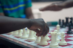 Chess playing in the park Royalty Free Stock Photos