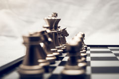 Chess position for the winners. Chess pieces in different combinations on a black and white board Royalty Free Stock Photography