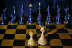 Chess the protection of the weak. Picture about chess, which is suitable for describing the insurance protection of the weak, self-defense and other situations Royalty Free Stock Photo