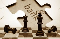 Chess and  puzzle bank concept Royalty Free Stock Images