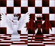 Chess Queen angel and devil. Vector illustration Stock Photography