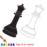 Chess queen cartoon. Page to be colored. Stock Photos