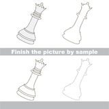 Chess queen. Drawing worksheet. Stock Photos