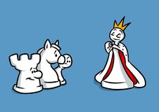 Chess queen figures. Cartoon illustration Royalty Free Stock Image