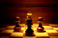 Chess Queen and Four Pawns Royalty Free Stock Images