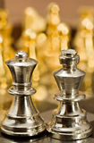 Chess (the Queen and the King). Chess pieces (the Queen and the King) on the game board Royalty Free Stock Photo