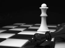 Chess Queen. Chess pieces, white Queen and defeated the black king Stock Photo