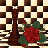 Chess Queen and red rose Stock Photo