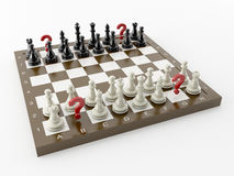 Chess with the question Stock Photo