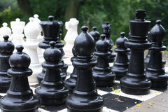 Chess After Rain. Set of big wet chess in park after rain Royalty Free Stock Photos