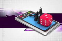 Chess with red cube and smart phone Royalty Free Stock Images