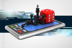 Chess with red cube and smart phone Stock Images