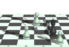 Chess robbery. Image capture of the chess king pawns Royalty Free Stock Photos