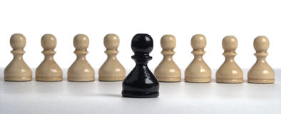chess series: Black pawn on a background white Stock Image
