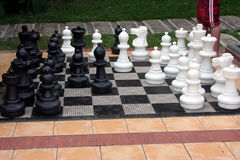 Chess Set. Giant chess set outside in a hotel Royalty Free Stock Photography