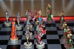 Chess set. Nice chess set depicting soldiers and Robin Hood outlaws Stock Photography