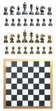 Chess Set. A ready made set of chess pieces silver and gold and a blank chess board Royalty Free Stock Photos