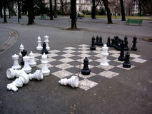 Chess set. Oversized chess set in a park in Geneva, Switzerland royalty free stock images
