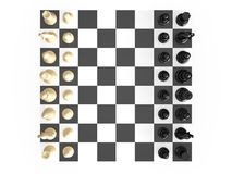 Chess Set and Board. Chess board with starting positions aligned chess pieces, top view, isolated on white background Stock Image
