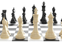 Chess Set and Board. Chess board with starting positions aligned chess pieces, back view, isolated on white background Stock Image
