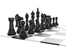 Chess Set and Board. Chess board with starting positions aligned chess pieces, isolated on white background Stock Images