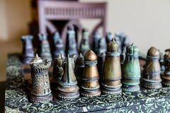 Chess Set with Chair Stock Photos