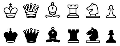 Chess set collection. Illustration of black and white chess icons set collection Royalty Free Stock Photography