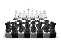 Chess set, 3d render illustration isolated on white. Stock Photo