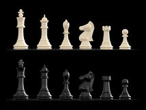 Chess Set. Dark and light chess set on black background Royalty Free Stock Photography