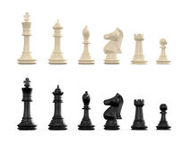 Chess Set. Dark and light chess set, isolated on white background Royalty Free Stock Photos