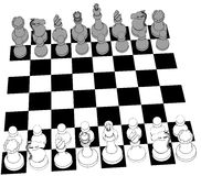 Chess set game pieces line drawing 3D Royalty Free Stock Image