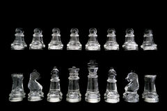 Chess set isolated on black Royalty Free Stock Photo
