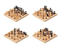 Chess Set Isometric View. Vector. Chess Set Isometric View Figures on Wooden Chessboard Strategy Sport Game. Vector illustration Stock Photos