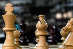 Chess set with king, bishop and knight. Close up of some of the white pieces of a chess set on the board Stock Image
