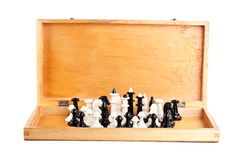 Chess set in an old wooden box Stock Images