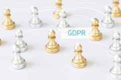 Chess set with other background, concept as communication and GD. Chess set with other on white background, concept as communication and GDPR word, General Data Stock Image