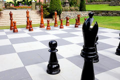 Chess set, Portmeirion, Wales. Royalty Free Stock Images