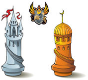 "Chess set: Rooks. Chess pieces series, black and white rooks, Crusaders vs. Saracens, including bonus ""Chess Battle"" heraldic emblem, vector illustration Royalty Free Stock Photo"