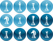 Chess set on round buttons in vector Royalty Free Stock Images
