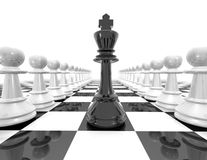 Chess set strategy black and white illustration with pawns. Royalty Free Stock Image