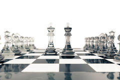 Chess set, victory, transparent glass figures, on a chessboard, 3d rendering vector illustration