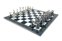 Chess set, victory, transparent glass figures, on a chessboard, 3d rendering Stock Images