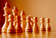Chess set on a wooden chess board Stock Photos