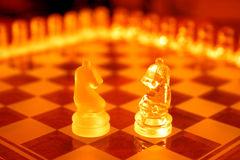Chess Sets. Knights from different sets Royalty Free Stock Images