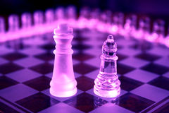 Chess Sets. King and bishop from different sets Stock Images